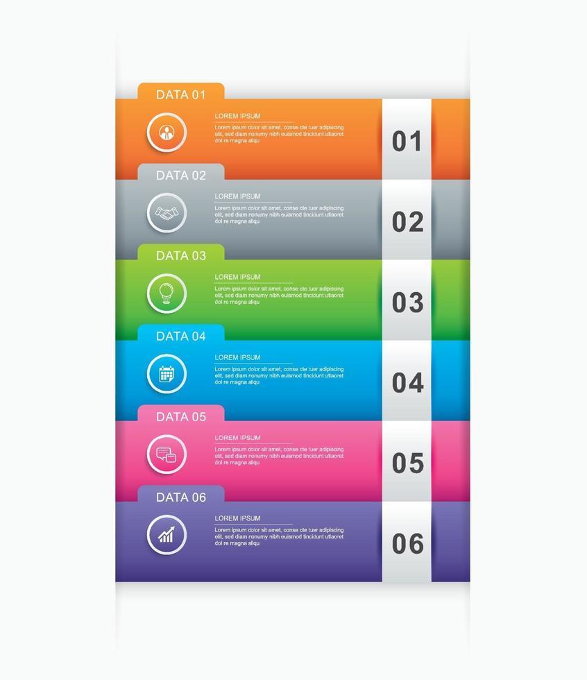 6 modèle d'index de papier onglet infographie de données. illustration vectorielle abstrait. peut être utilisé pour la mise en page du flux de travail, l'étape commerciale, la bannière, la conception Web. vecteur