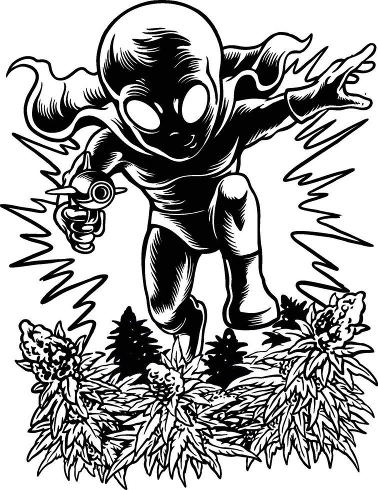 un extraterrestre attaquant un jardin de cannabis vecteur