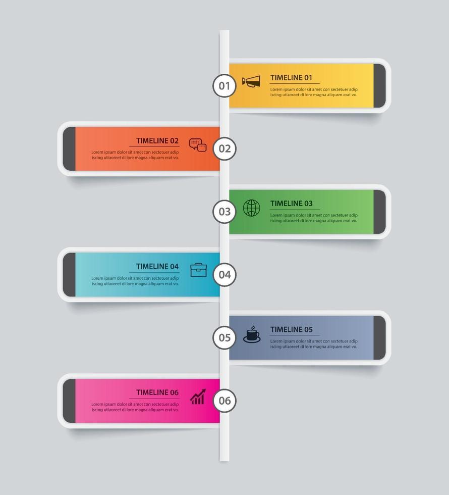 6 infographie timeline rectangle template business concept.vector peut être utilisé pour la mise en page de flux de travail, diagramme, nombre d'options de montée en puissance, conception de sites Web, rapport annuel vecteur