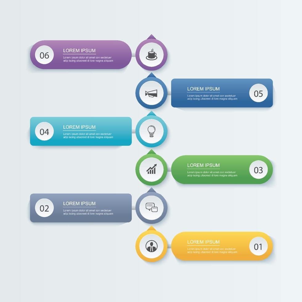 6 concept d'entreprise de modèle de chronologie infographique. vecteur
