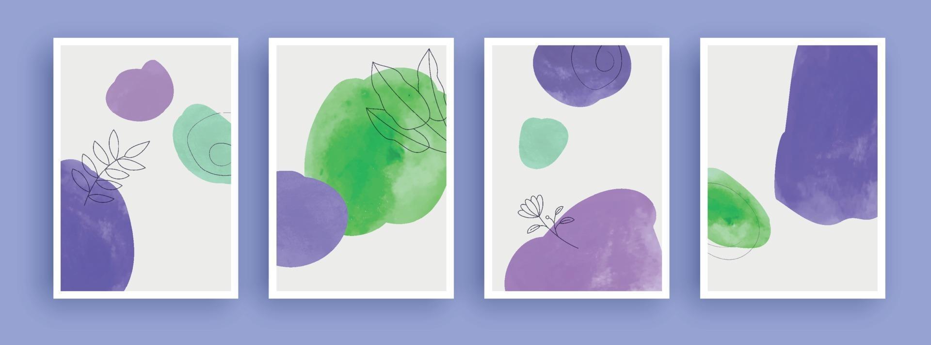 peinture d'art abstrait avec tache d'aquarelle sur fond de couleurs pastel. éléments géométriques minimalistes et ligne dessinée à la main. style nordique scandinave du milieu du siècle. vecteur