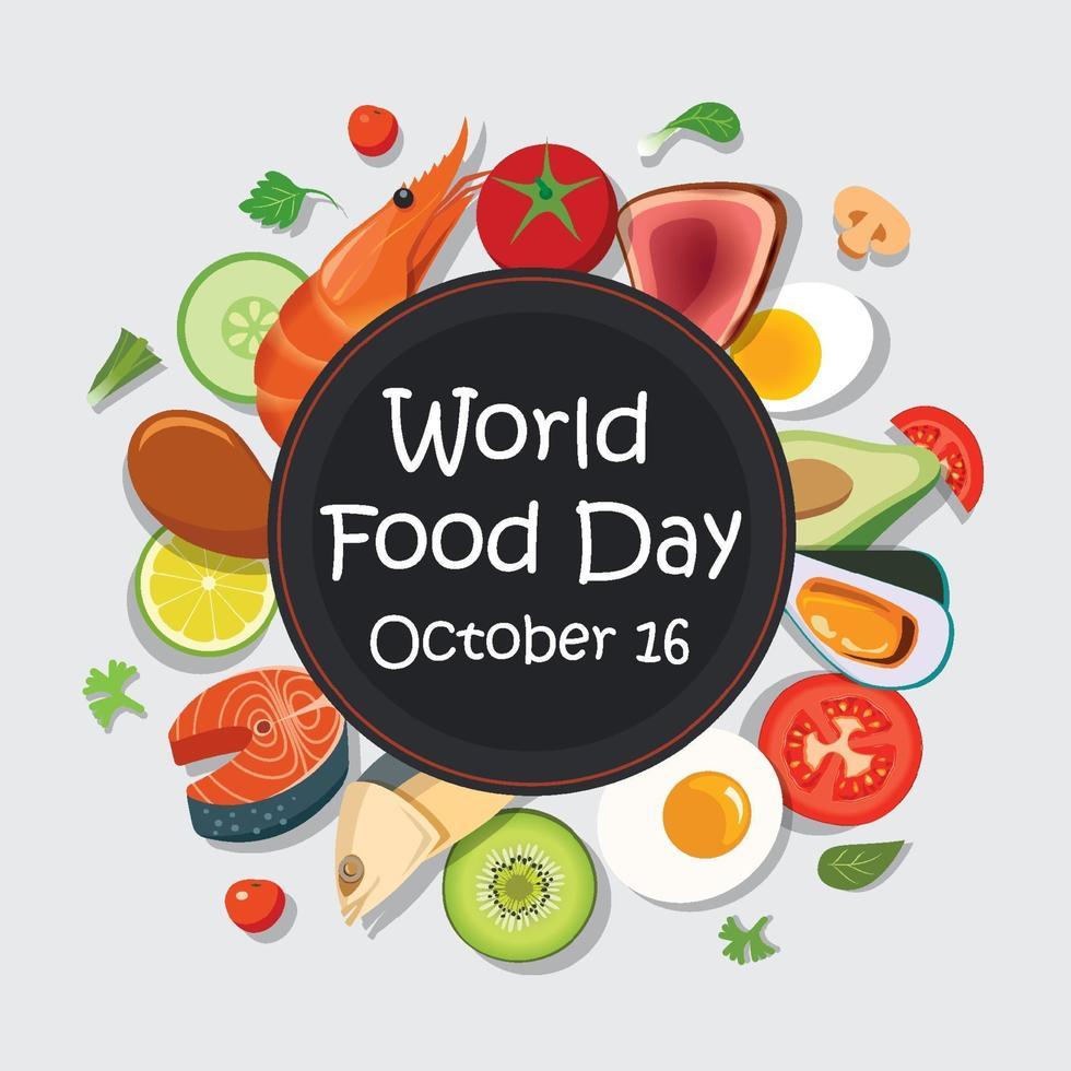 modèle d'affiche de la journée mondiale de l'alimentation et arrière-plan. vecteur