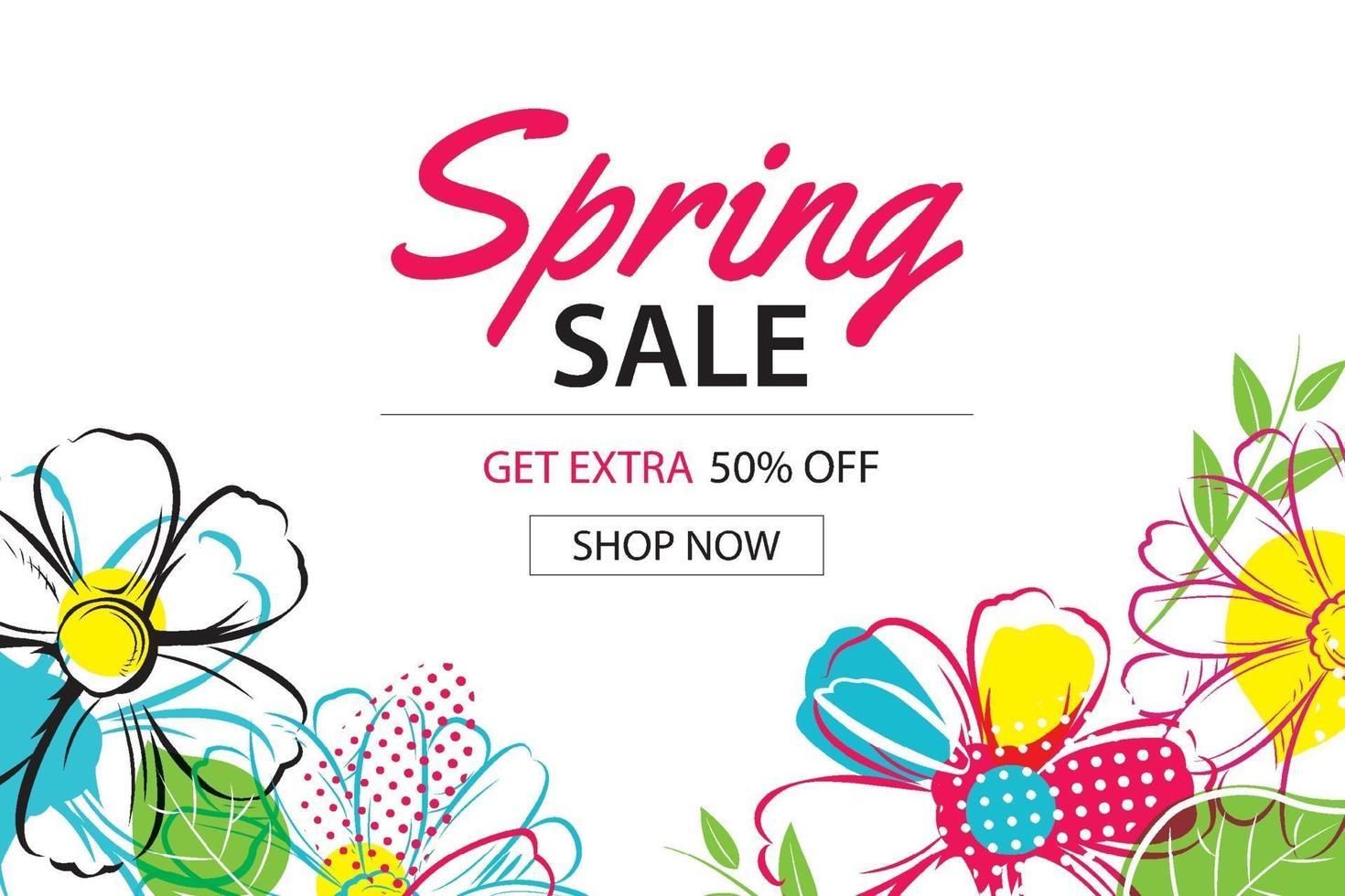 modèle d'affiche de vente de printemps avec fond de fleurs colorées. peut être utilisé pour un bon, un papier peint, des dépliants, une invitation, une brochure, une réduction de coupon. vecteur