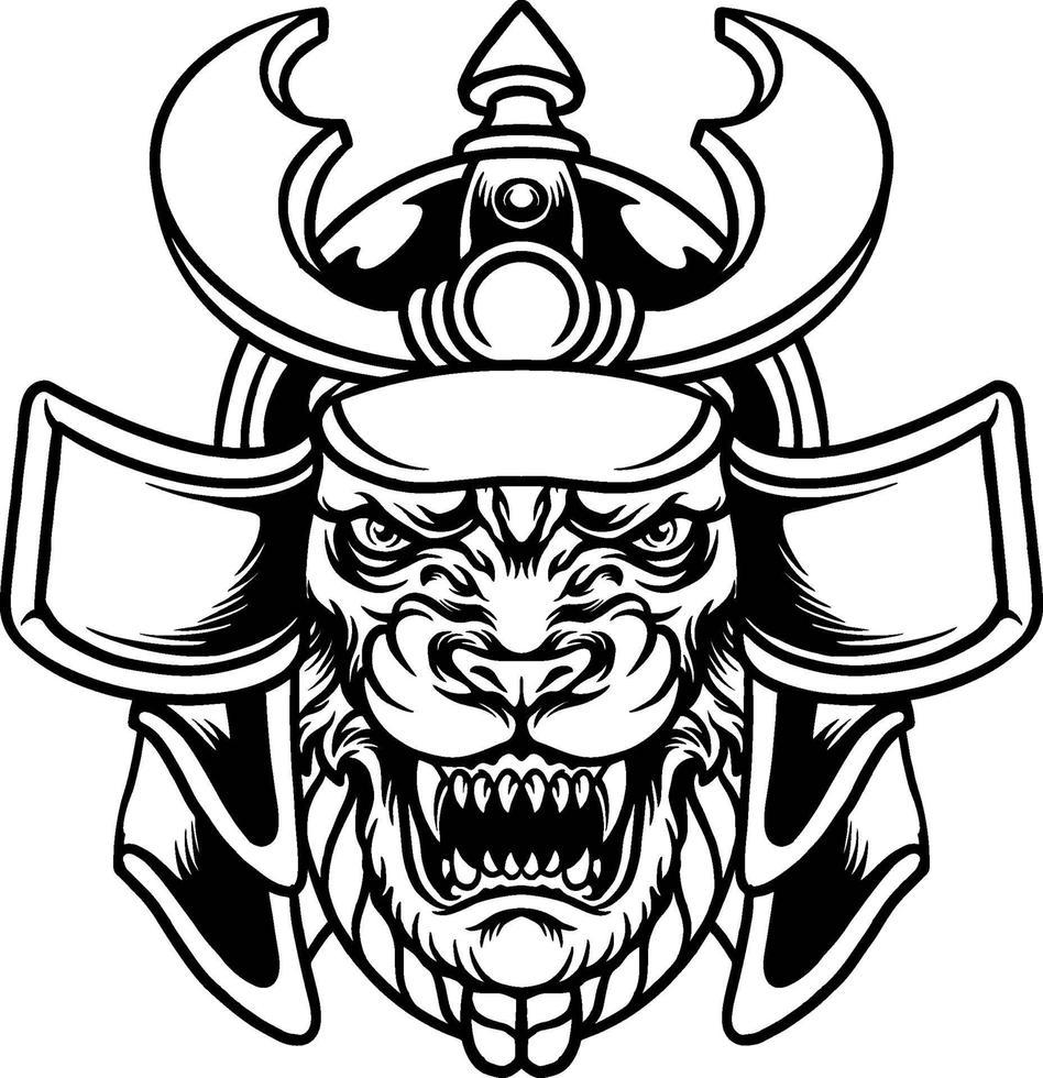 illustration de guerrier samouraï tigre bête vecteur