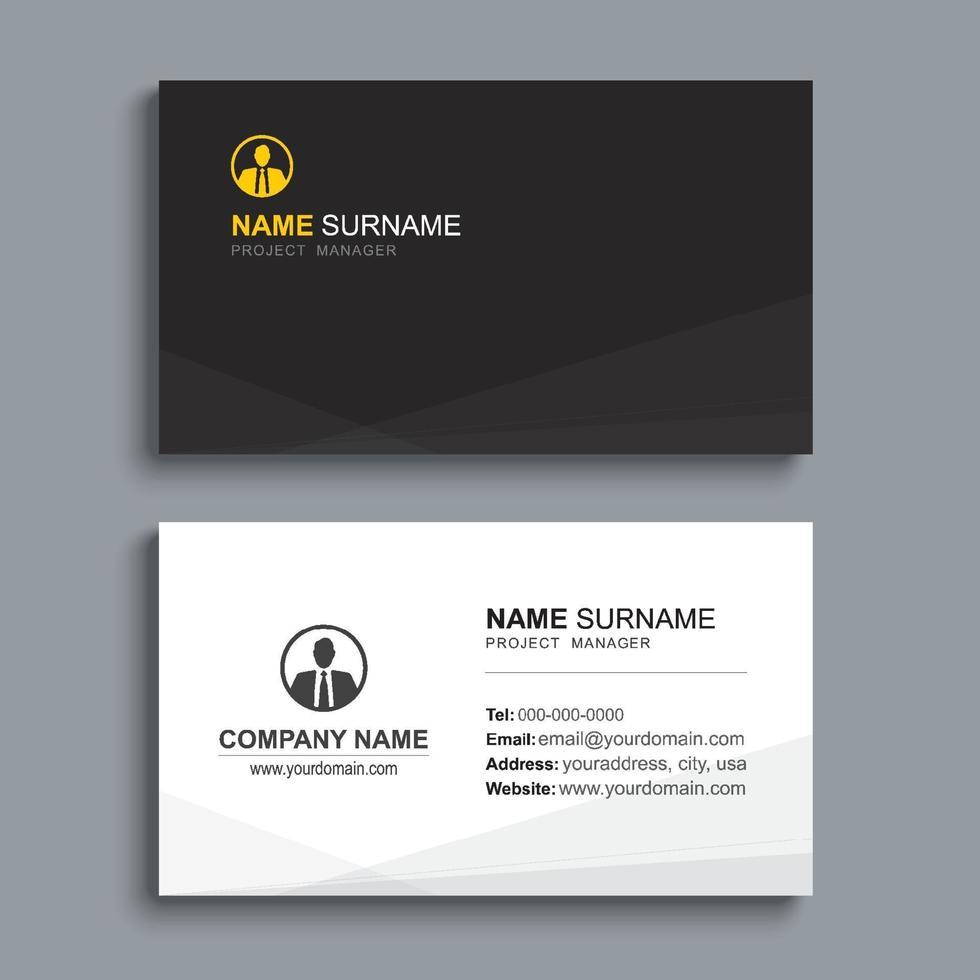 conception de modèle d'impression de carte de visite minimale. couleur noire et mise en page simple et propre. vecteur