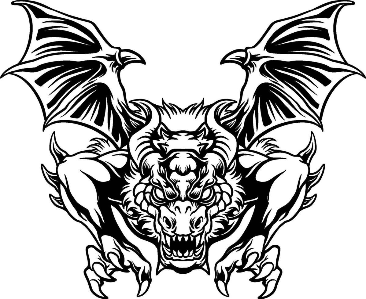 illustration d'attaque de dragon en colère vecteur