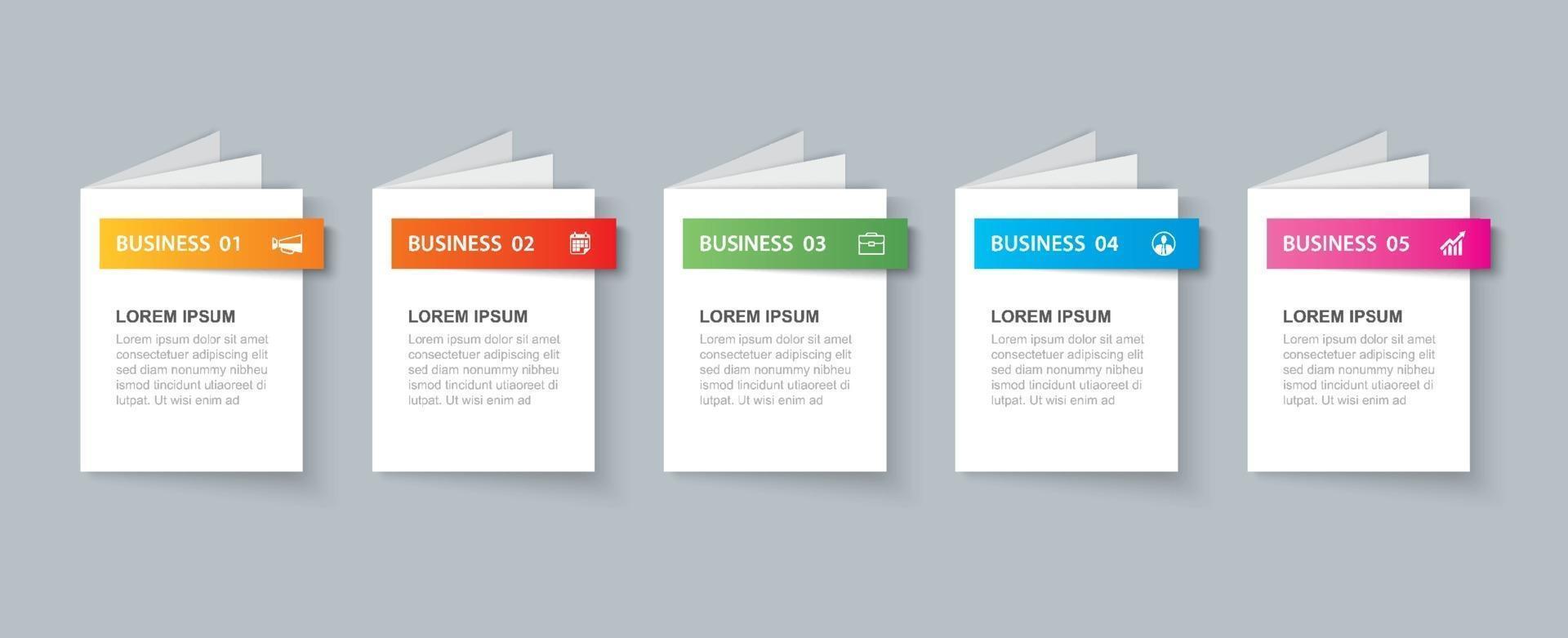 modèle de livre infographie entreprise avec 5 données. peut être utilisé pour la mise en page du flux de travail, le diagramme, les options de nombre, la conception Web, les présentations vecteur