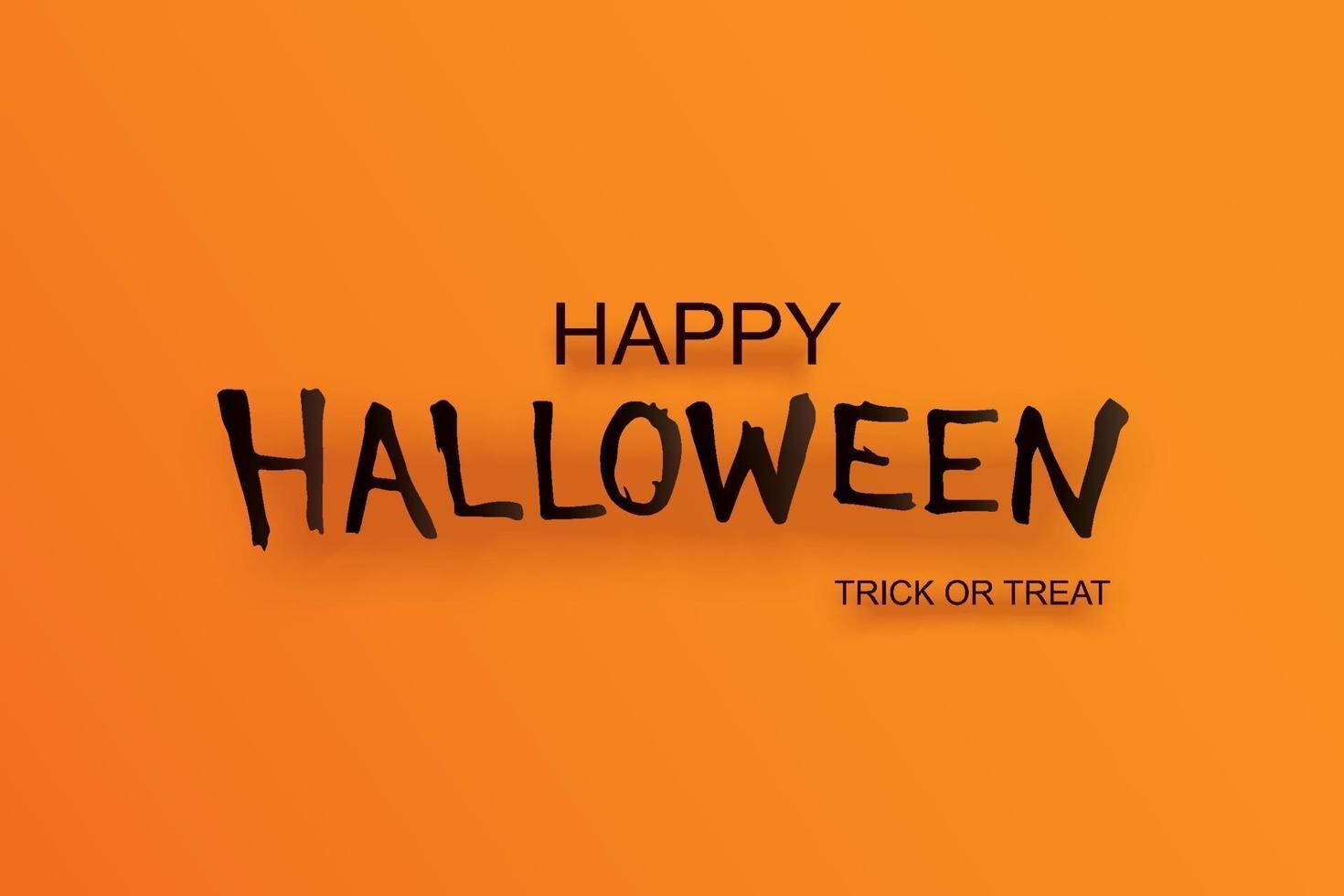 invitation de fête d'halloween avec texte sur fond orange. modèle d'art de papier de carte de voeux de conception. utiliser pour flyer, bannière, affiche, illustration vectorielle. vecteur