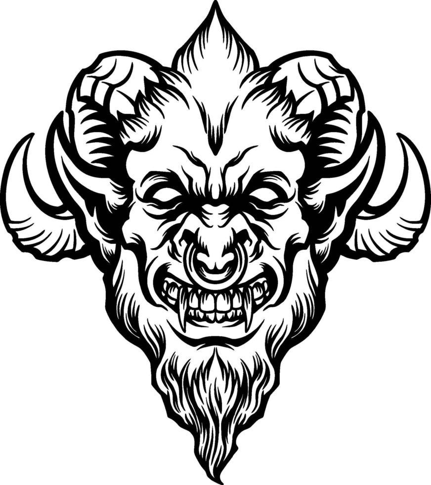 tête de démon en colère vecteur