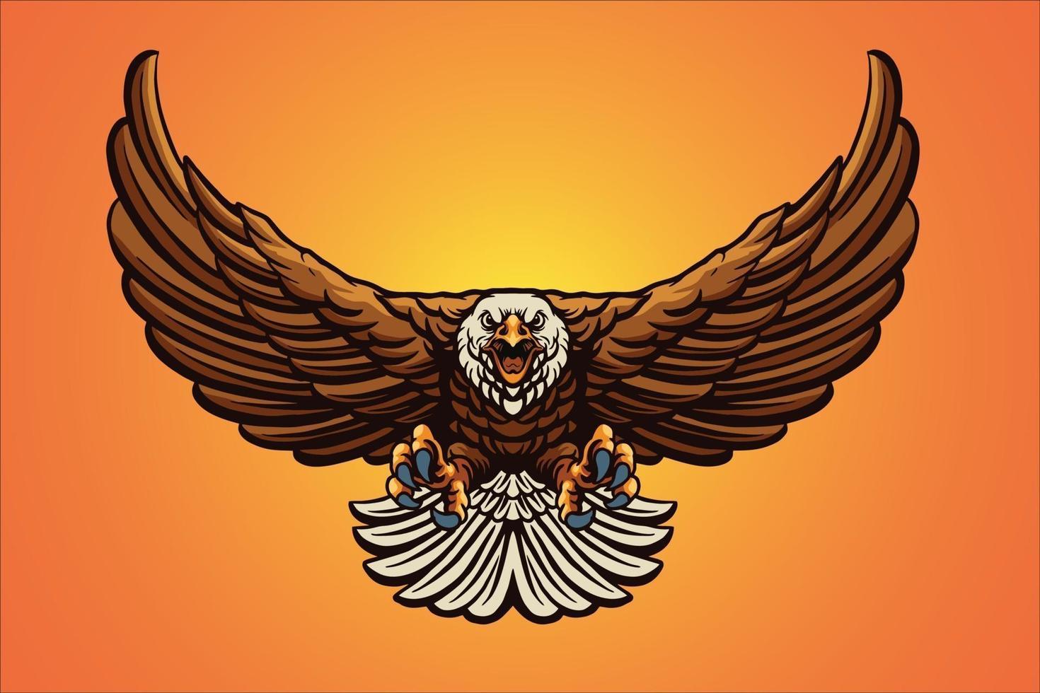illustration vectorielle de vol aigle mascotte vecteur