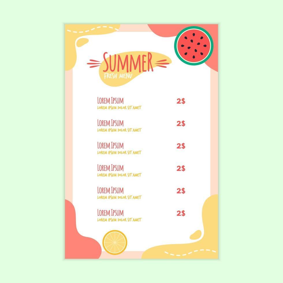 modèle de menu frais d'été avec pastèque et fruits orange vecteur