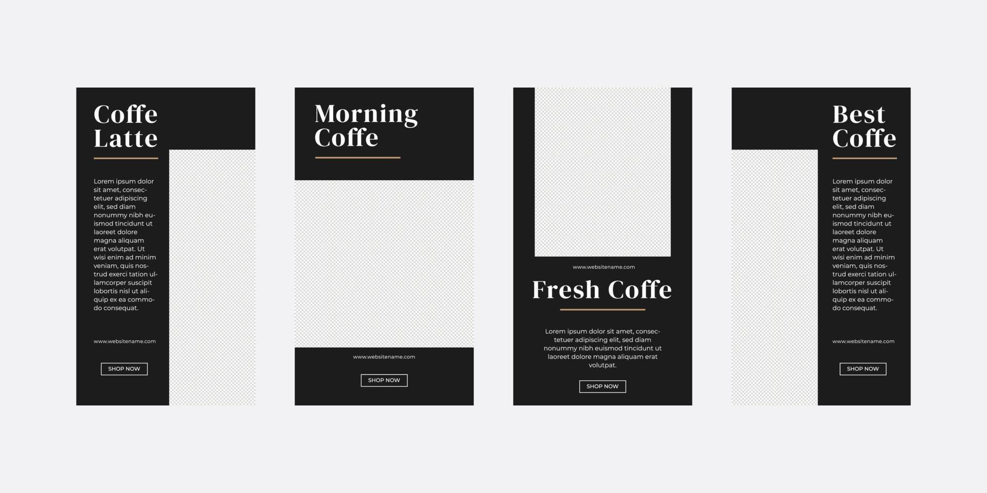modèle d'histoires de médias sociaux de café vecteur