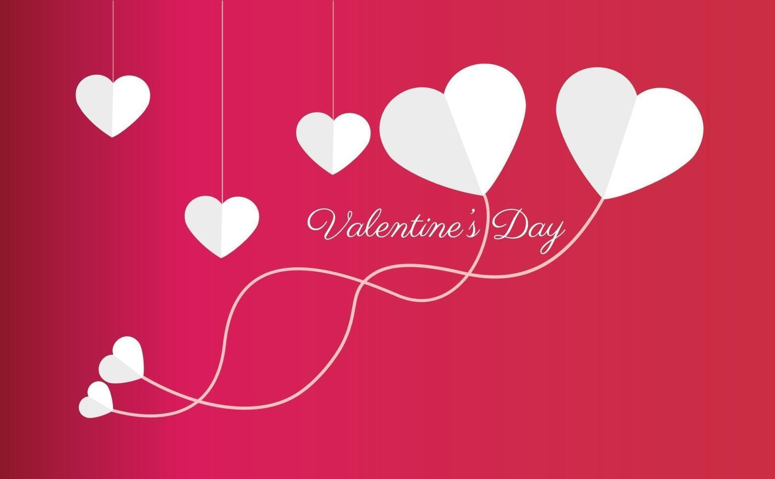 fond de la Saint-Valentin minimaliste bannière créative romantique de la Saint-Valentin heureuse, en-tête horizontal pour site Web. fond réaliste 3d objets décoratifs festifs, fond rouge vecteur