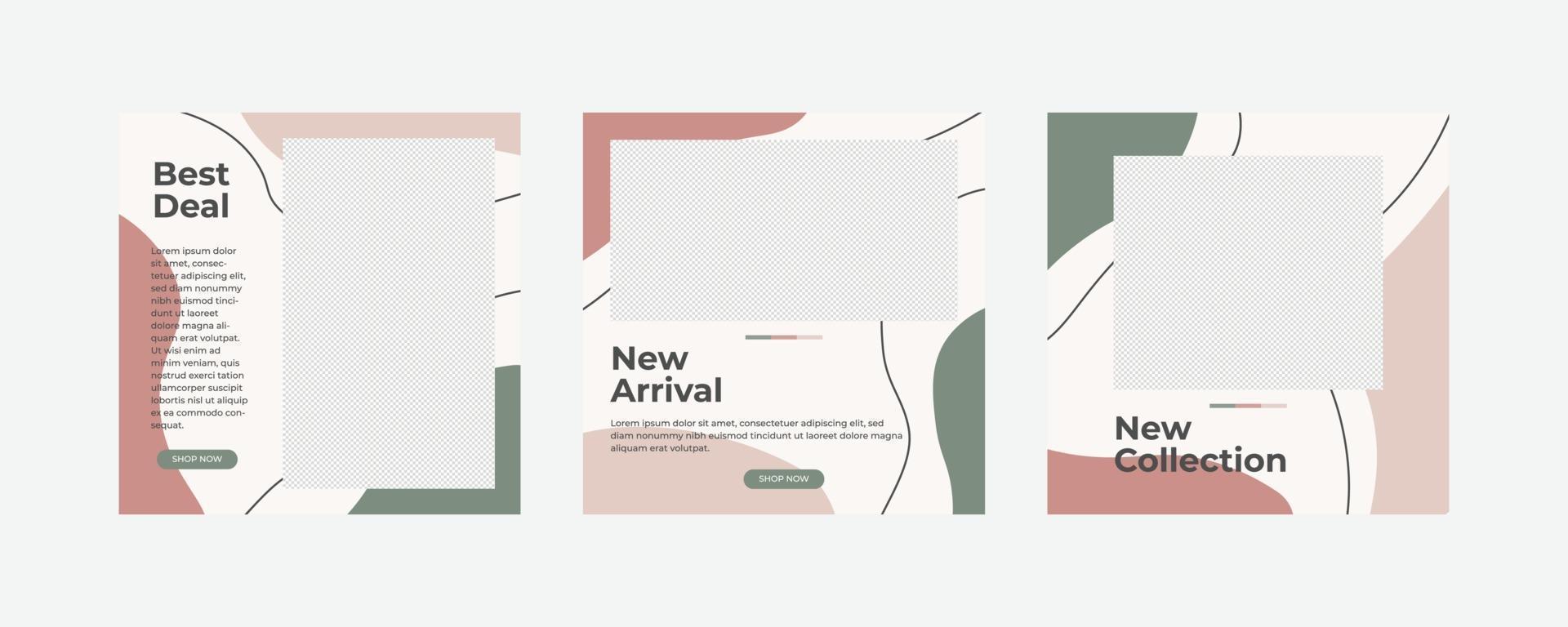 publication de médias sociaux de meubles modernes minimalistes vecteur