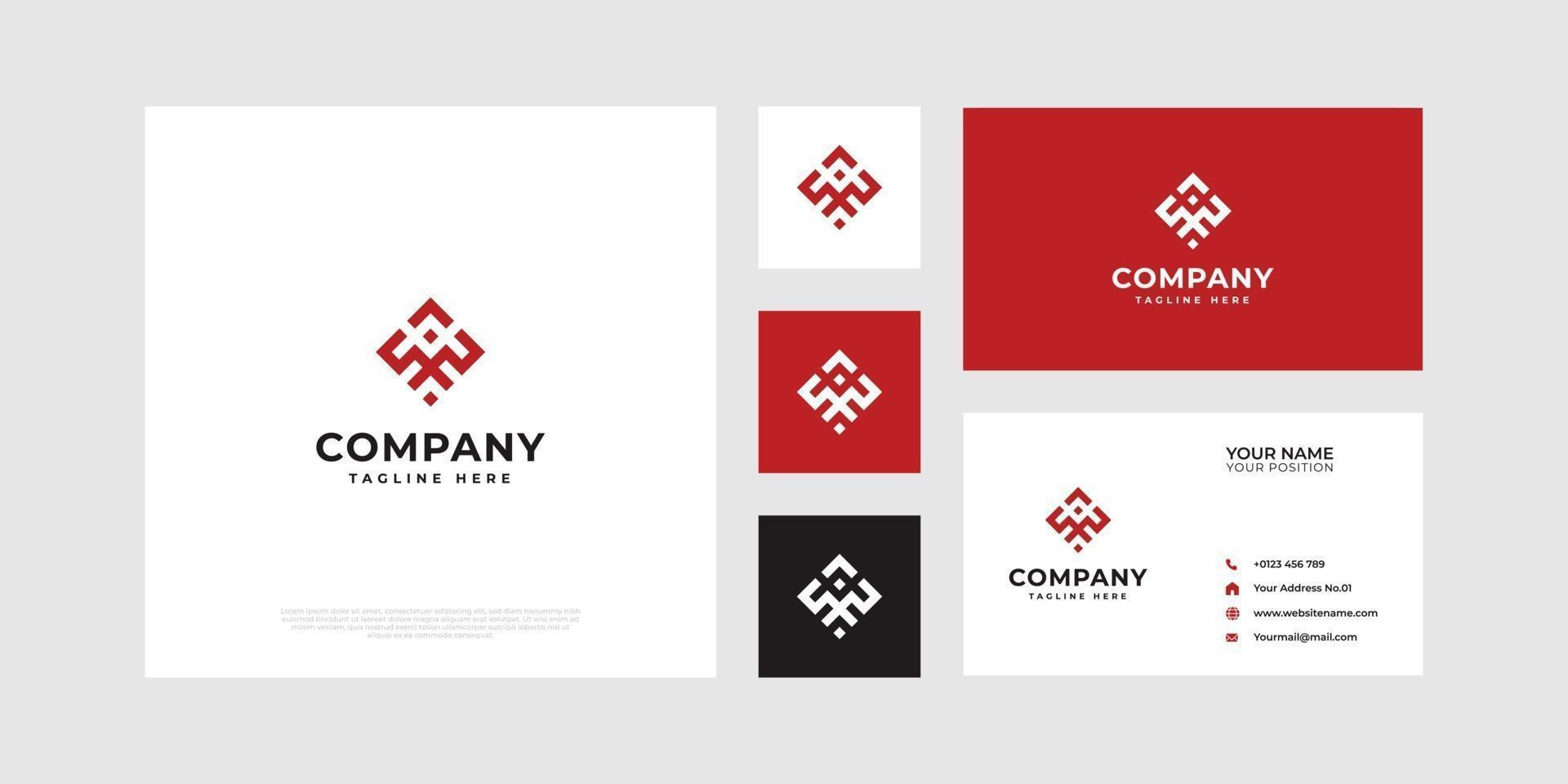 logo abstrait symbolisant la coopération avec les cartes de visite. vecteur