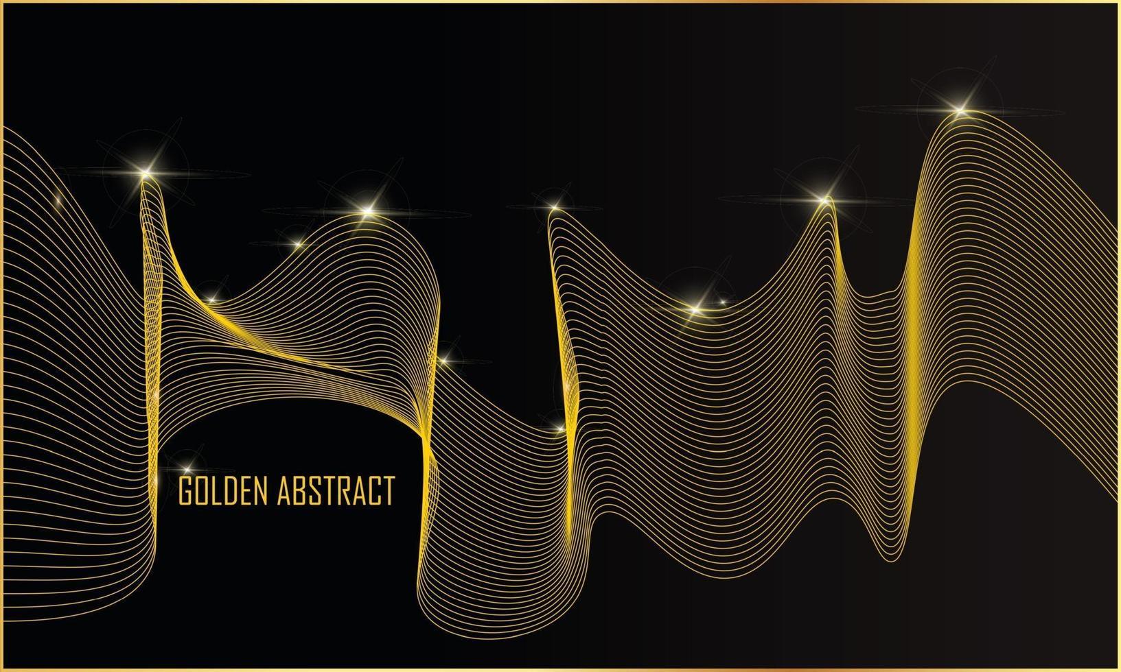 fond abstrait lignes dorées ondulées vecteur