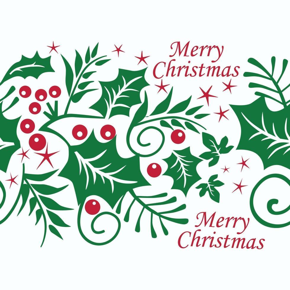 motif de Noël sans couture avec des baies rouges et des feuilles vertes sur fond blanc. illustration vectorielle. vecteur