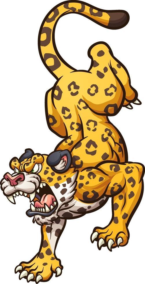 jaguar de dessin animé en colère vecteur