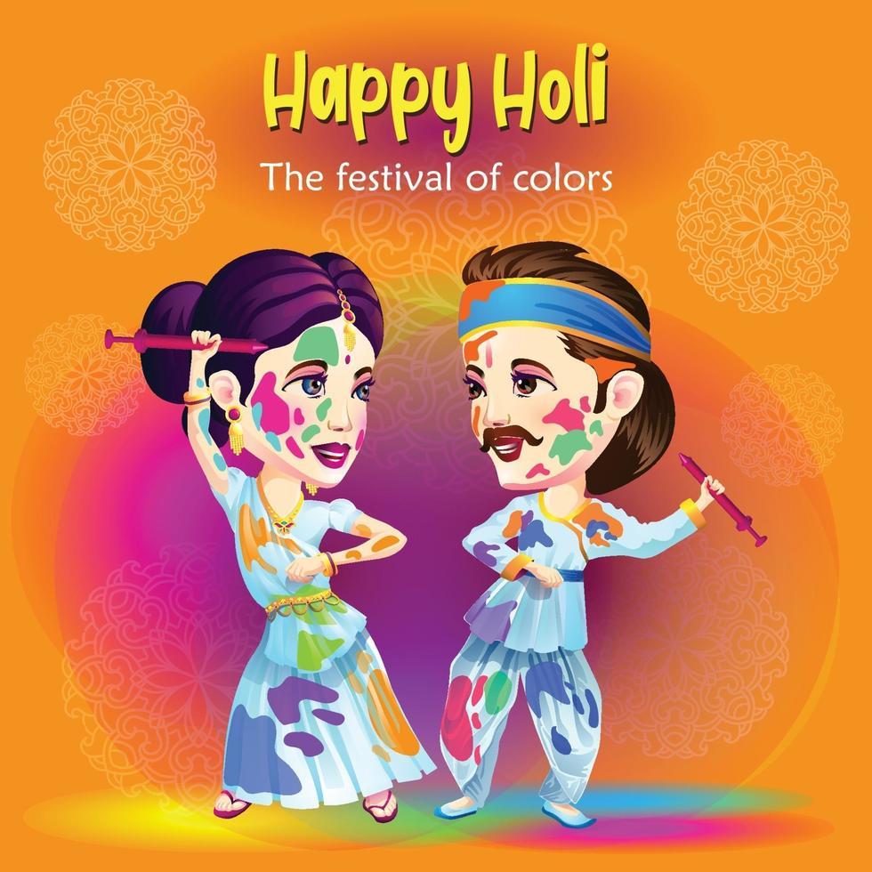 danseurs de célébration du festival de holi vecteur