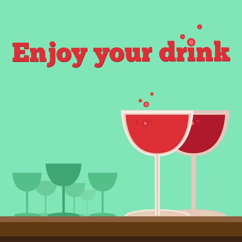 affiche ou flyer avec verres à vin vecteur