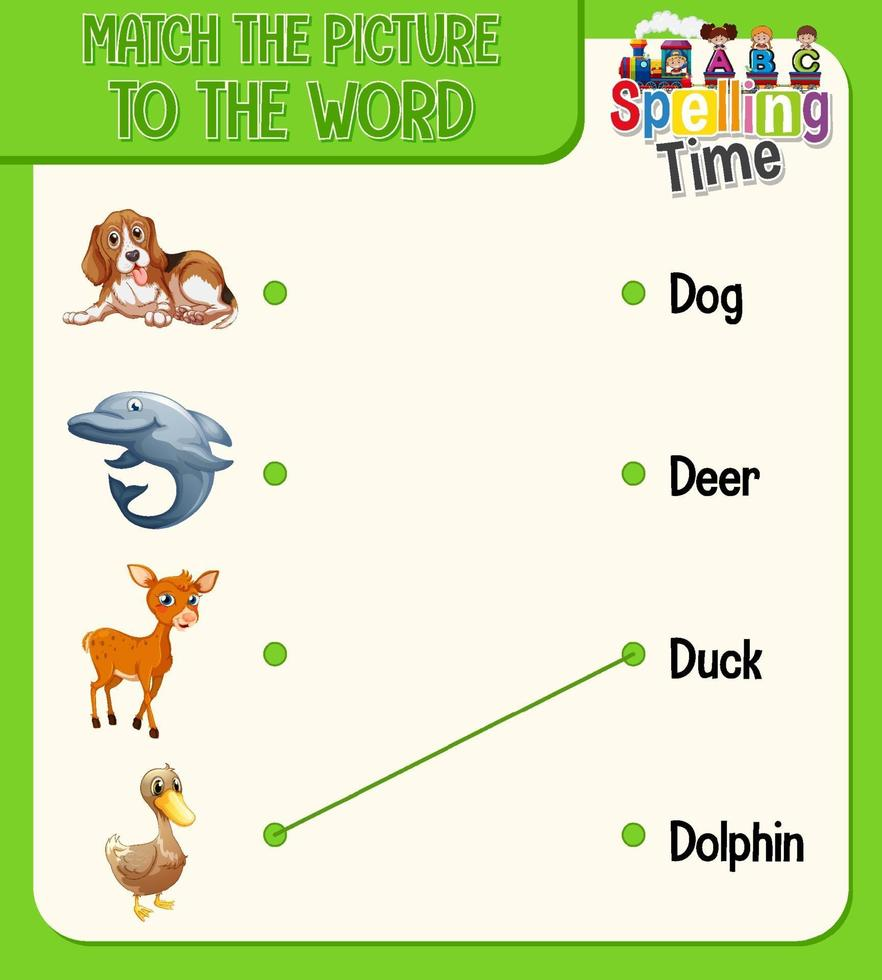 feuille de calcul de correspondance mot à image pour enfants vecteur