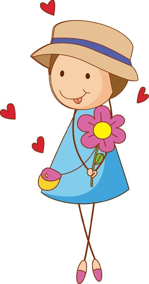 un enfant de griffonnage tenant le personnage de dessin animé de fleur isolé vecteur