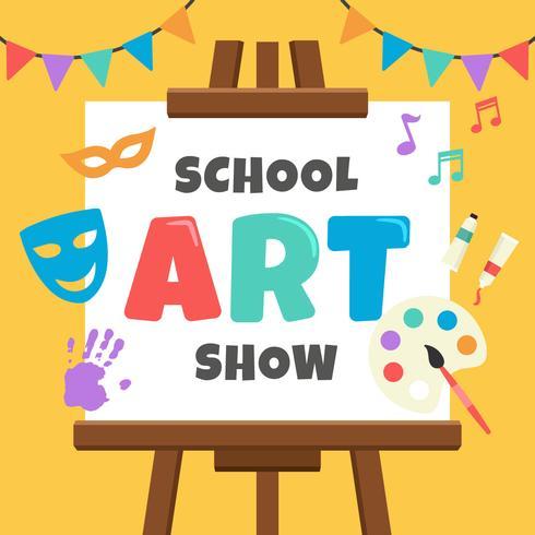 Affiche d'exposition d'art d'école vecteur