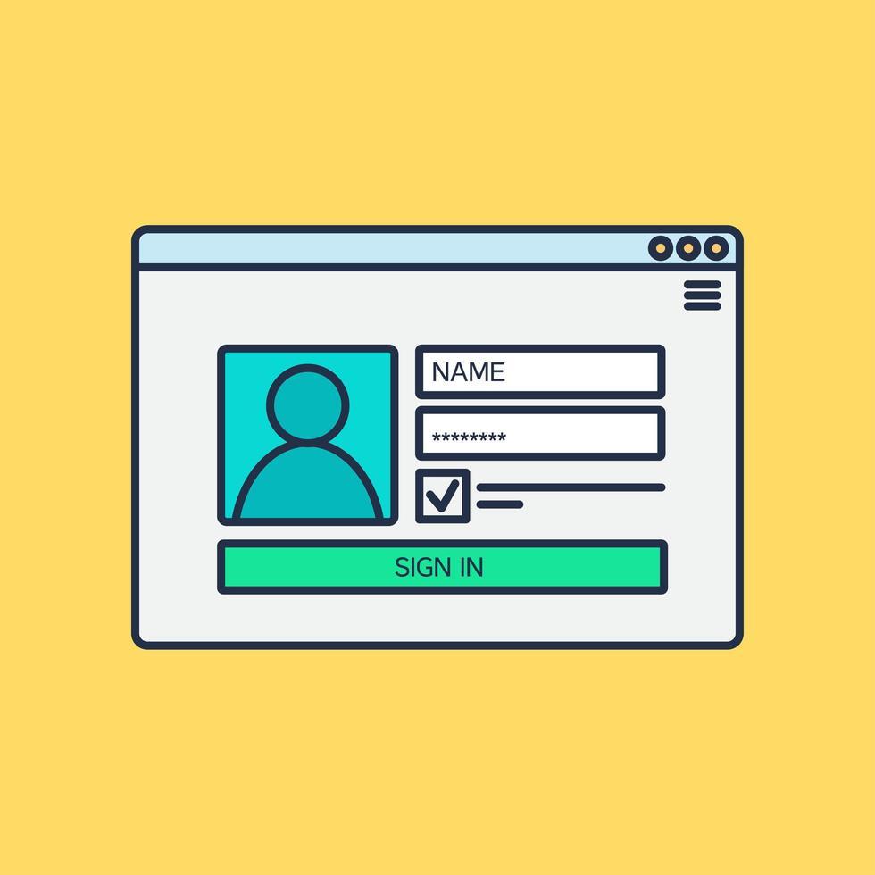 formulaire de connexion au compte vecteur