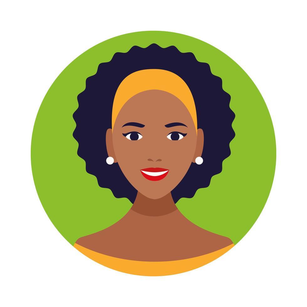 icône de personnage avatar belle femme noire vecteur