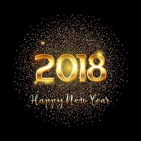 Bonne année fond de texte or vecteur