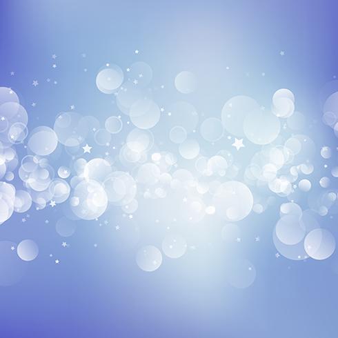 Fond de Noël avec des lumières de bokeh et des étoiles vecteur