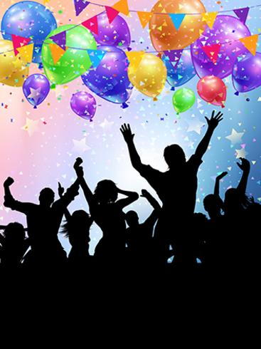 Silhouettes de fêtards sur un motif de ballons et de confettis vecteur