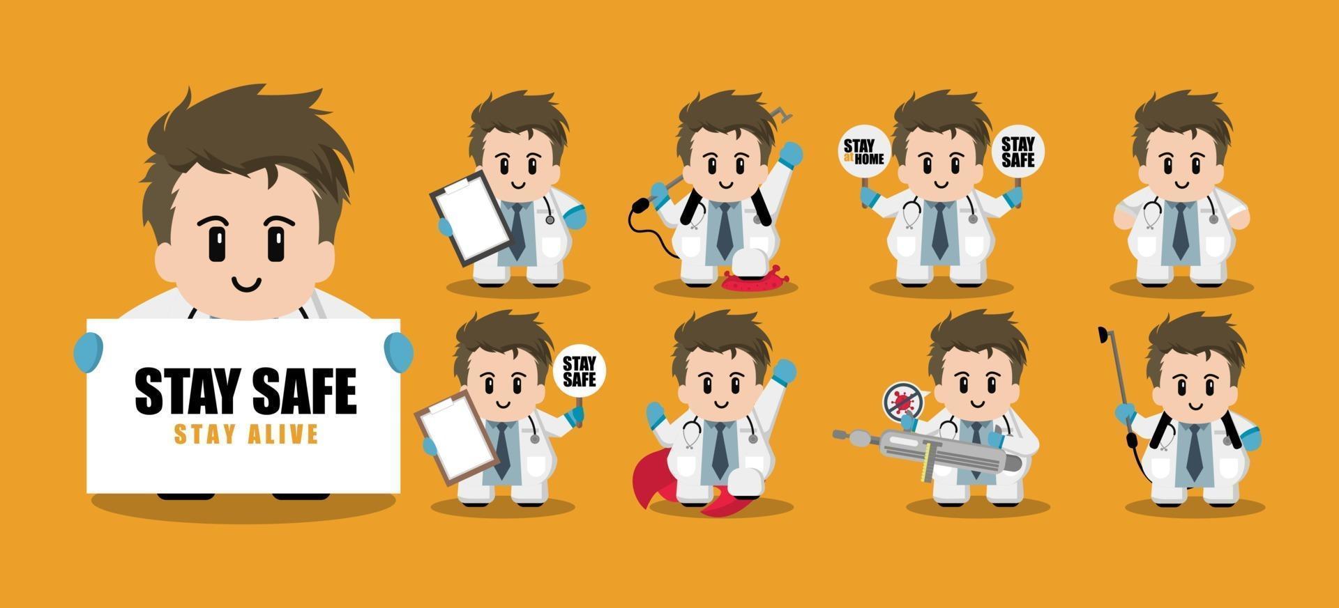 jeu de caractères de dessin animé mignon docteur vecteur