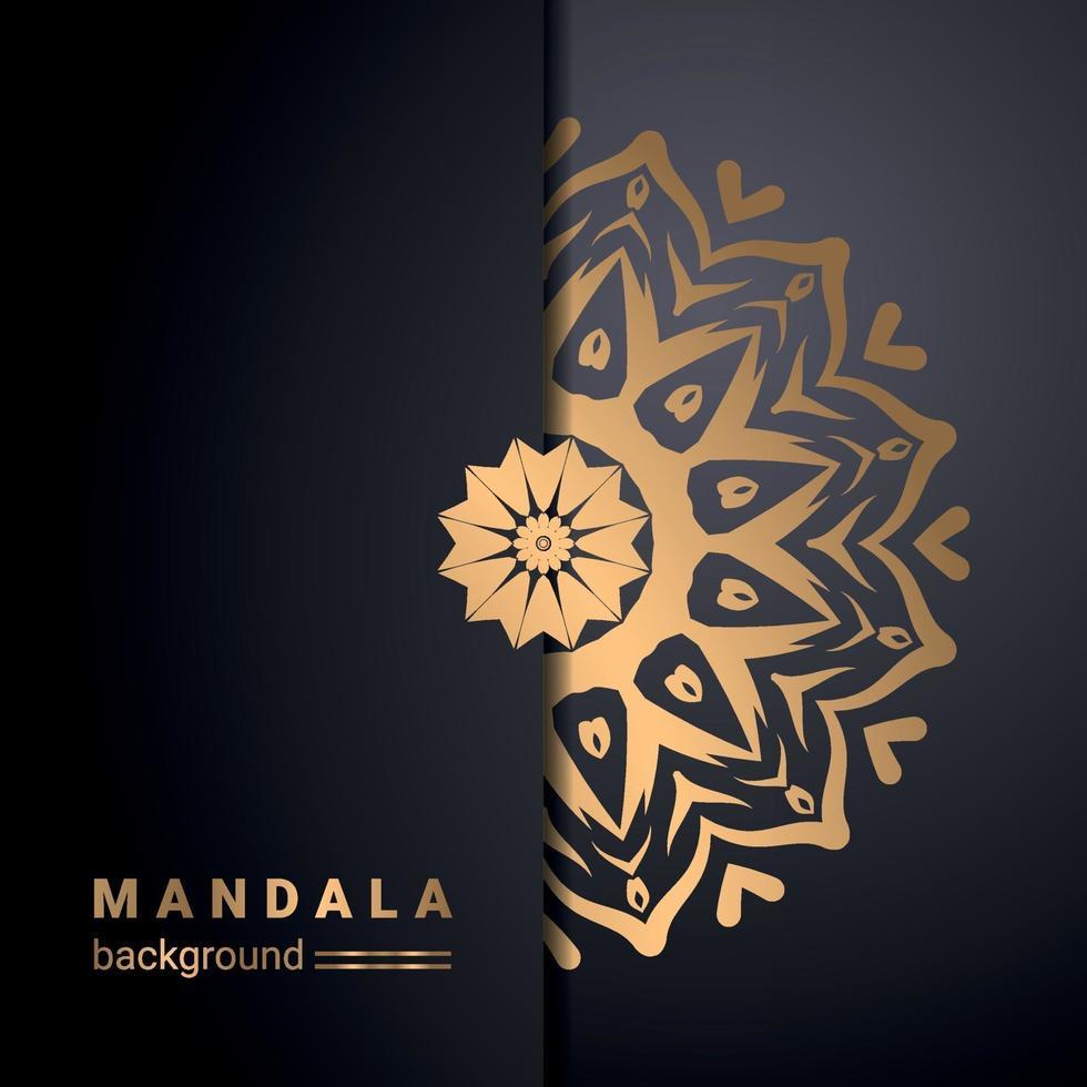 fond de conception de mandala ornemental de luxe en couleur or vecteur
