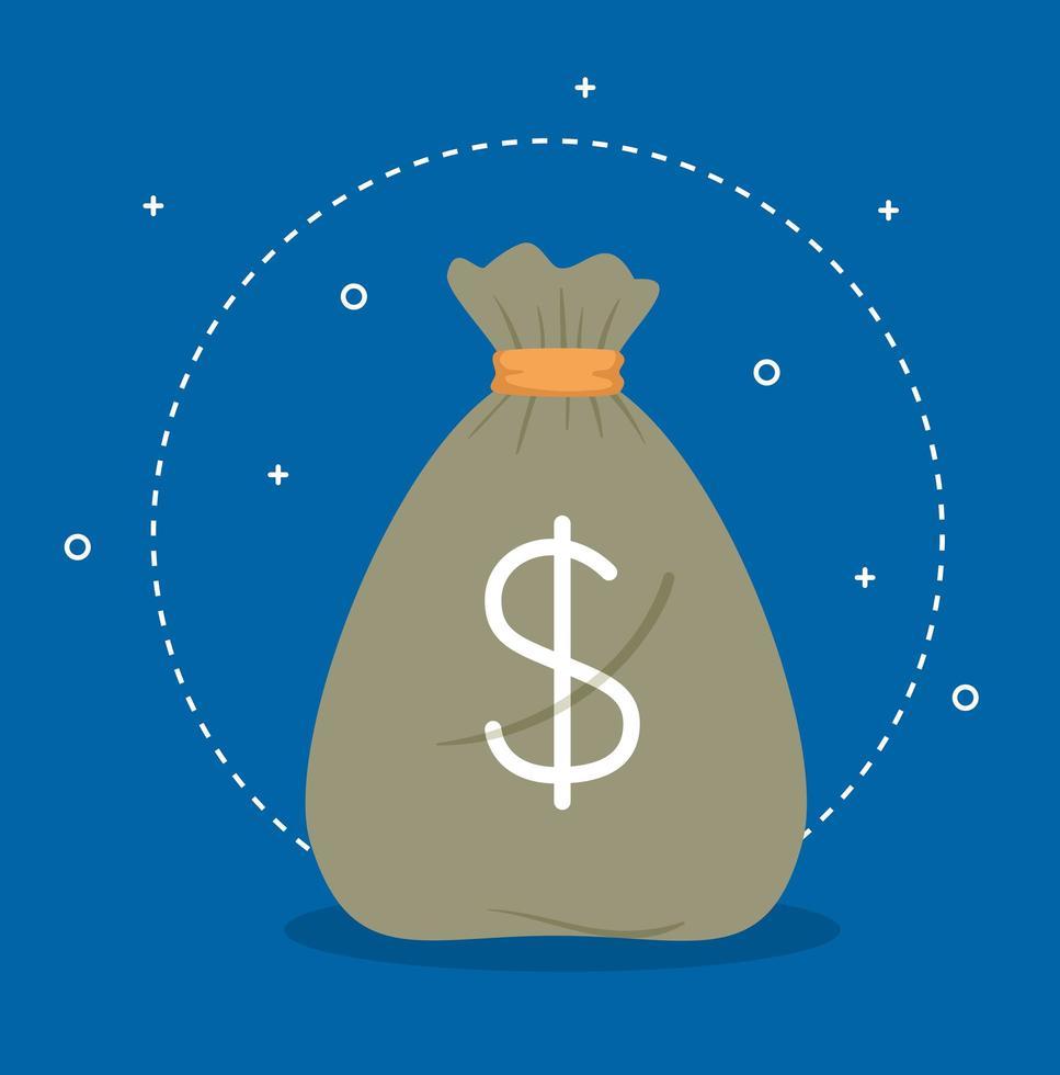 sac d & # 39; argent avec signe dollar sur fond bleu vecteur