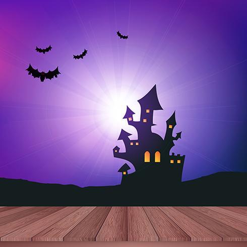 Table en bois donnant sur un paysage d'Halloween vecteur