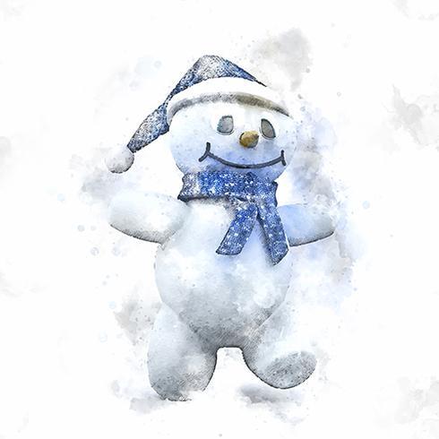 Aquarelle d'un mignon bonhomme de neige de Noël vecteur
