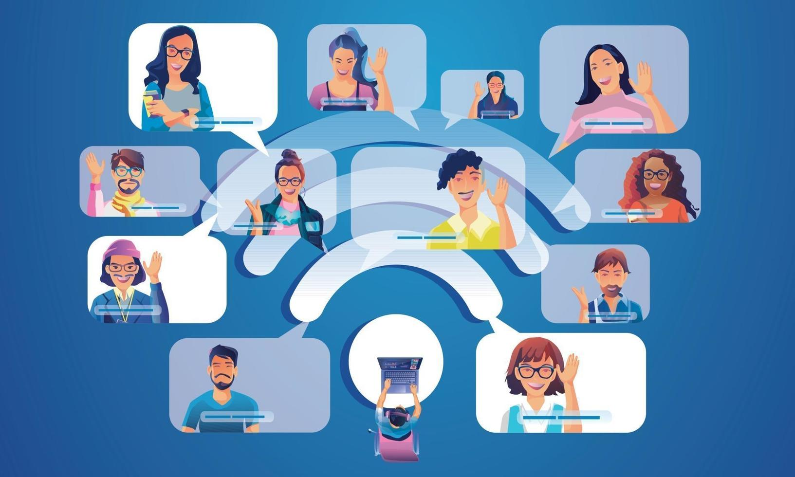 les gens utilisent la vidéoconférence atterrissant des travailleurs sur l'écran de la fenêtre avec des collègues. vidéoconférence et réunion en ligne wifi icône, homme et femme apprentissage en ligne illustration vectorielle, plat vecteur