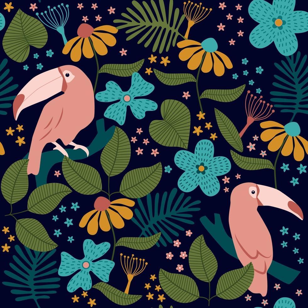 motif tropical sans soudure de toucans, fleurs, palmiers et feuilles sur fond noir. vecteur