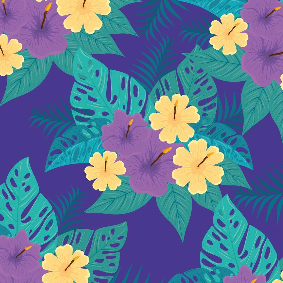 fond de feuillage tropical avec des feuilles vertes et des fleurs vecteur