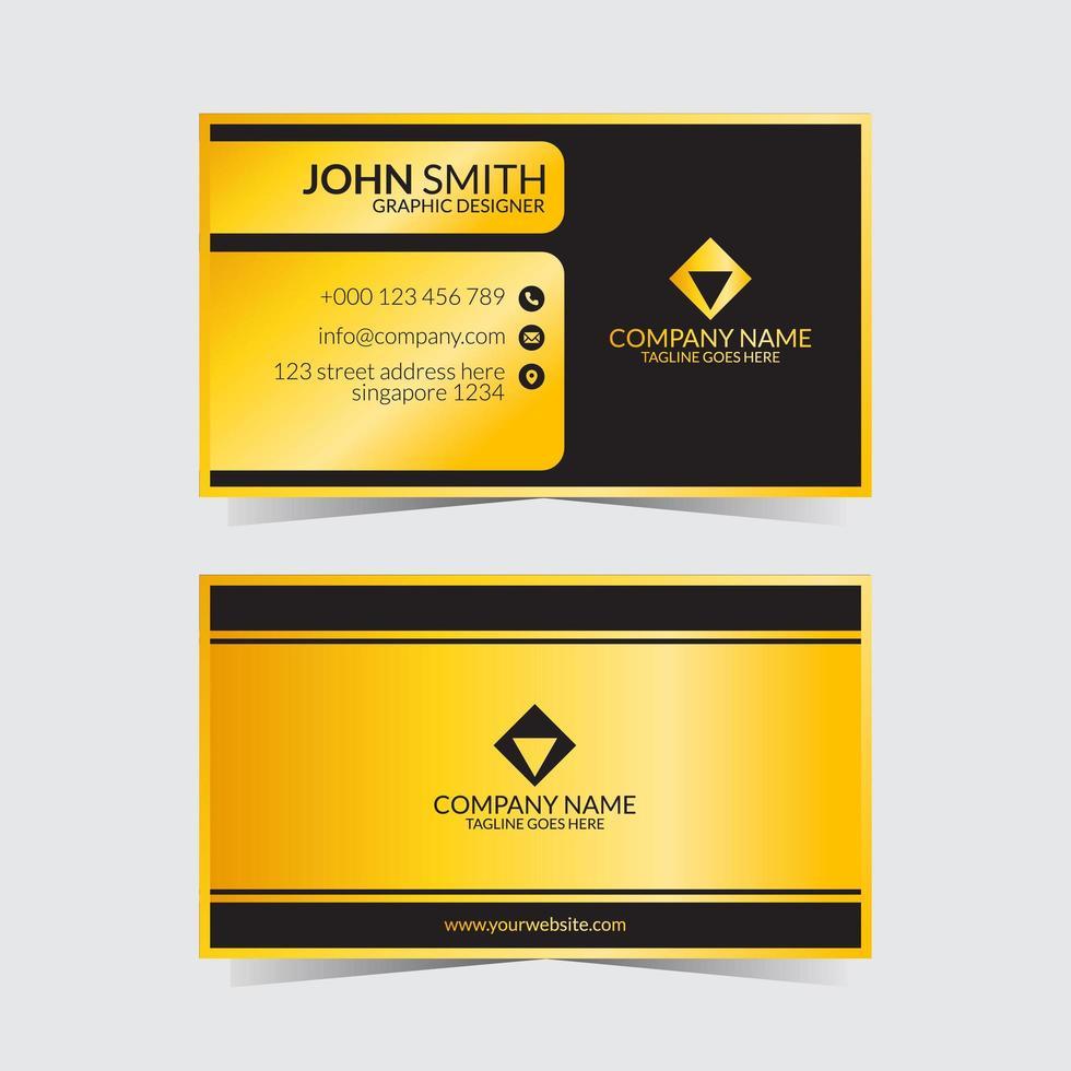 modèle de carte de visite jaune noir vecteur
