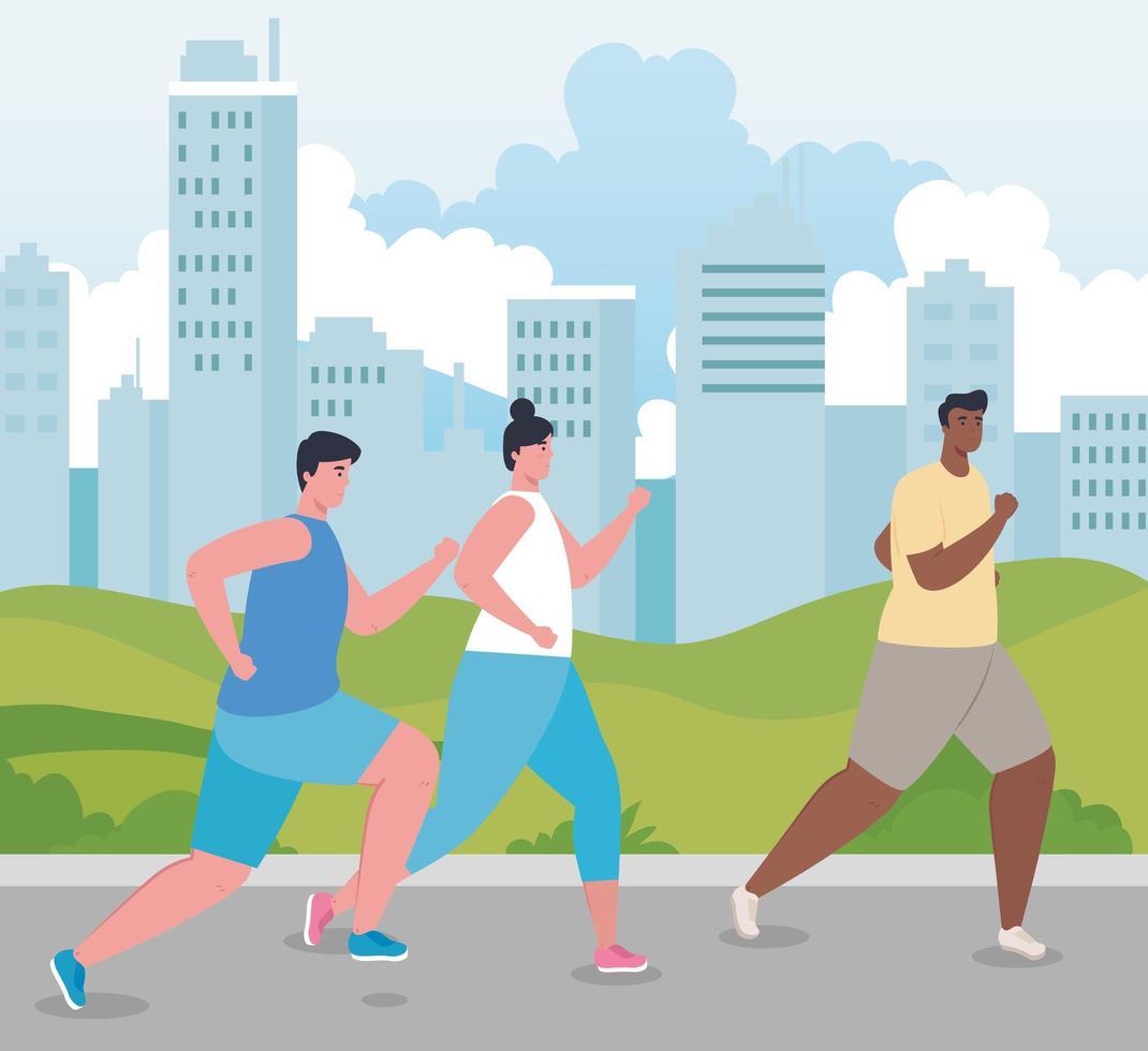 marathoniens interraciaux courant à l'extérieur vecteur