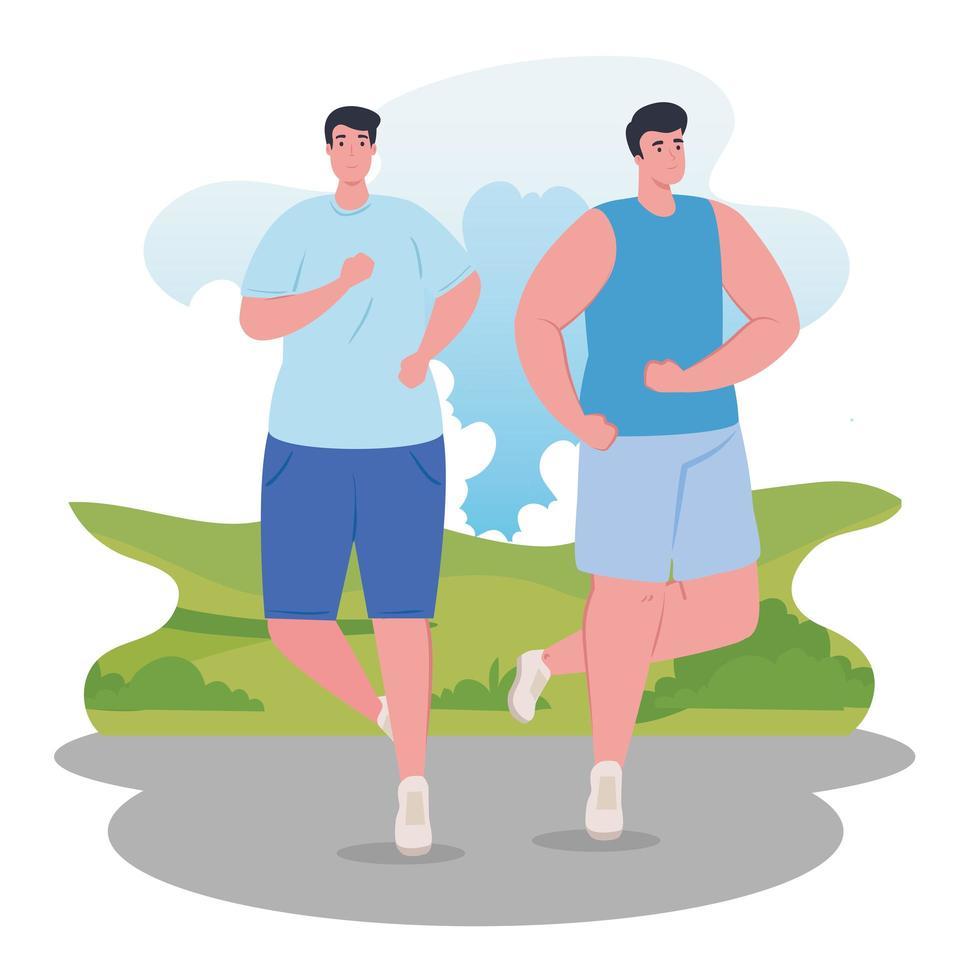 hommes marathoniens qui courent à l'extérieur vecteur
