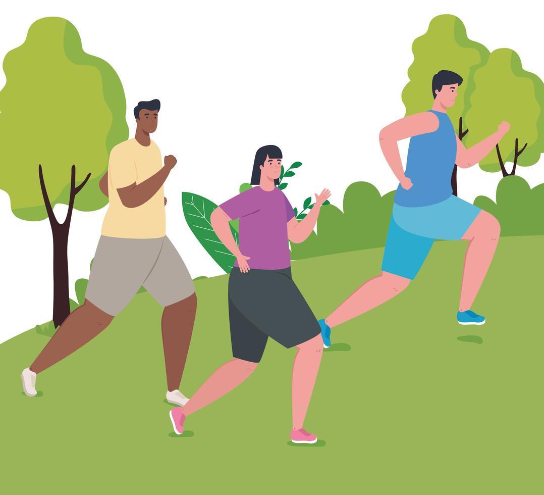 hommes marathoniens interracial courant à l'extérieur vecteur