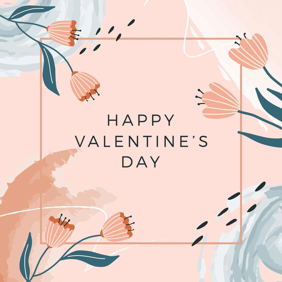 modèle de bannière carrée bonne Saint-Valentin, carte de voeux. fleur dessinée à la main, éléments aquarelles. vecteur