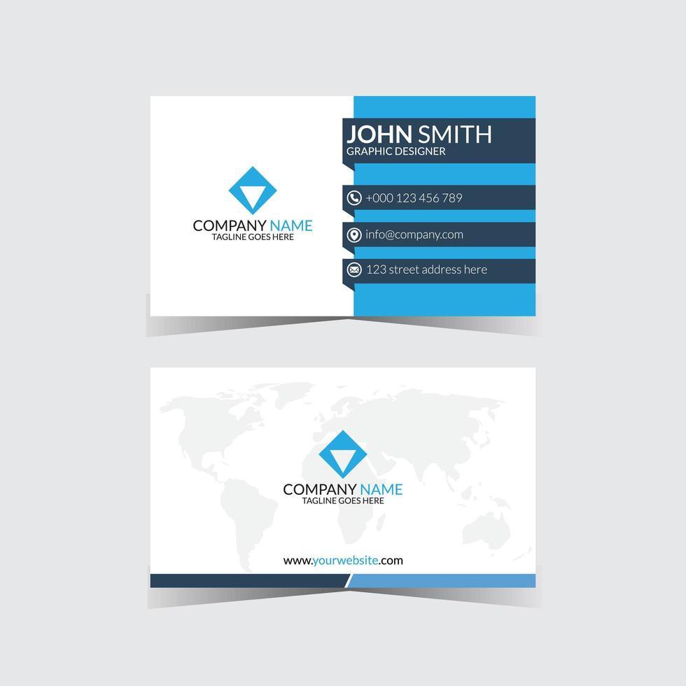 modèle de conception de carte de visite créative simple bleu et blanc vecteur