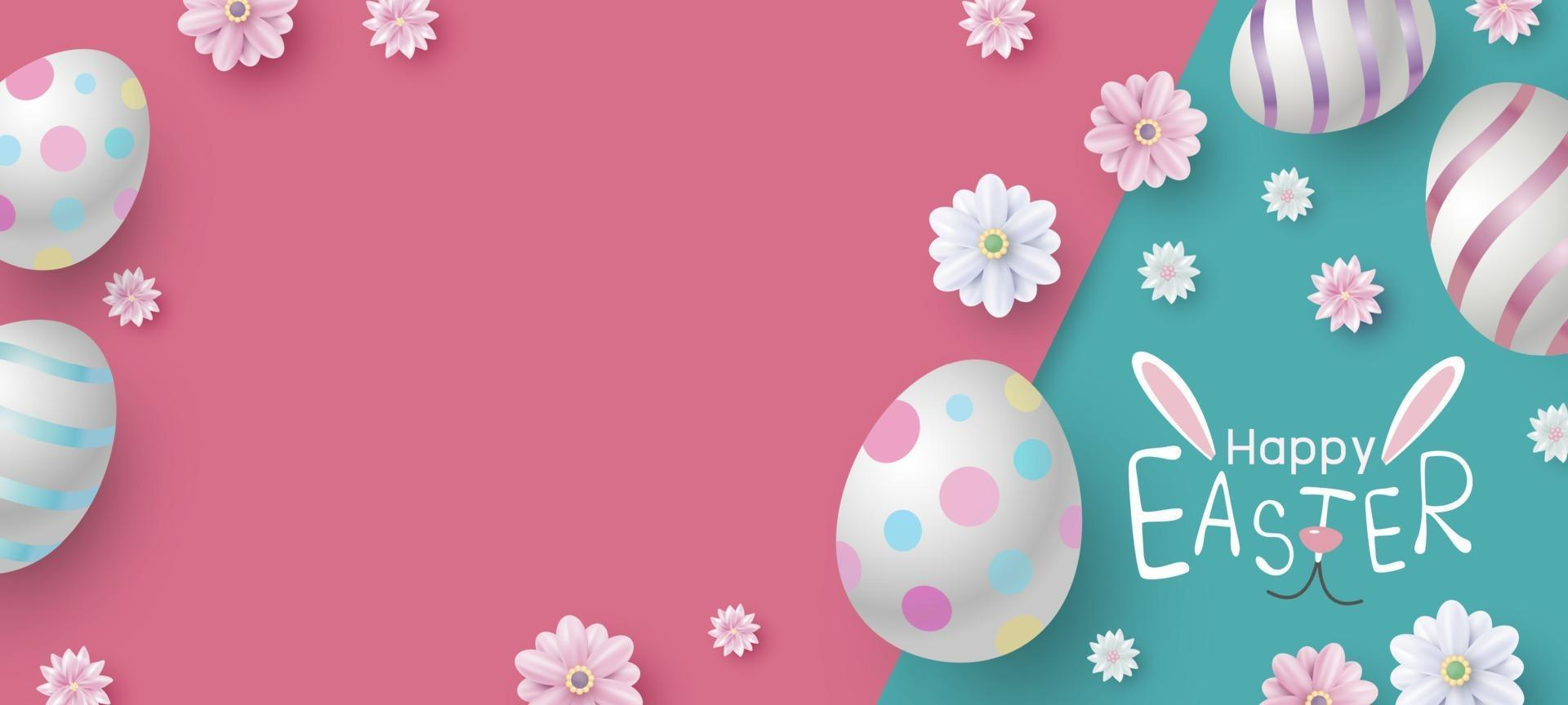 conception de bannière de Pâques d'oeufs et de fleurs sur illustration vectorielle papier couleur vecteur