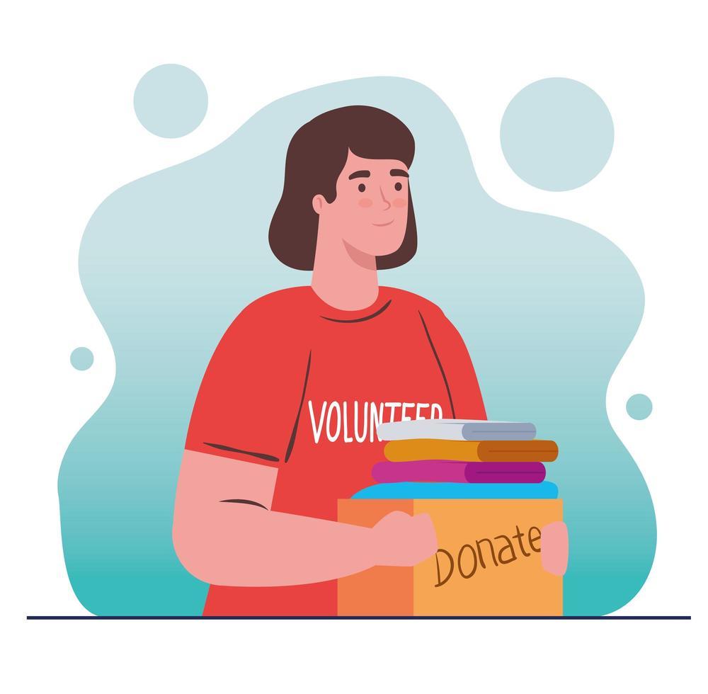 femme bénévole tenant une boîte de don avec des vêtements vecteur