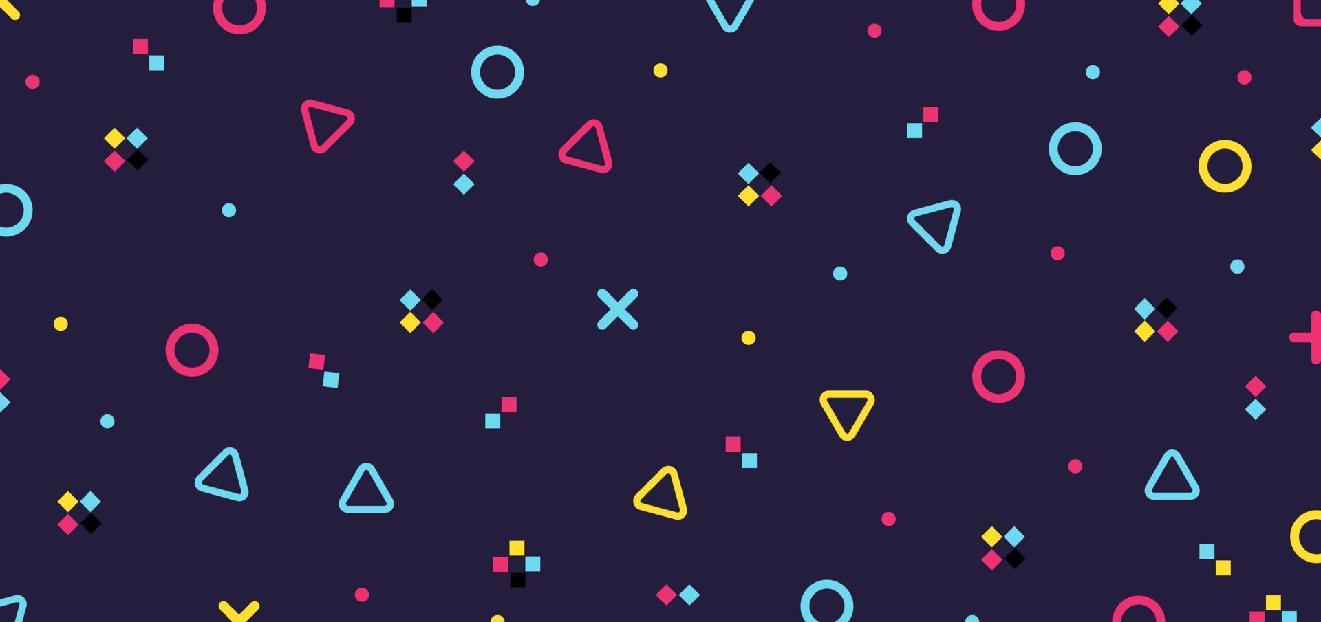 Éléments de motif abstrait hipster géométrique coloré sur fond violet rétro des années 80 vecteur