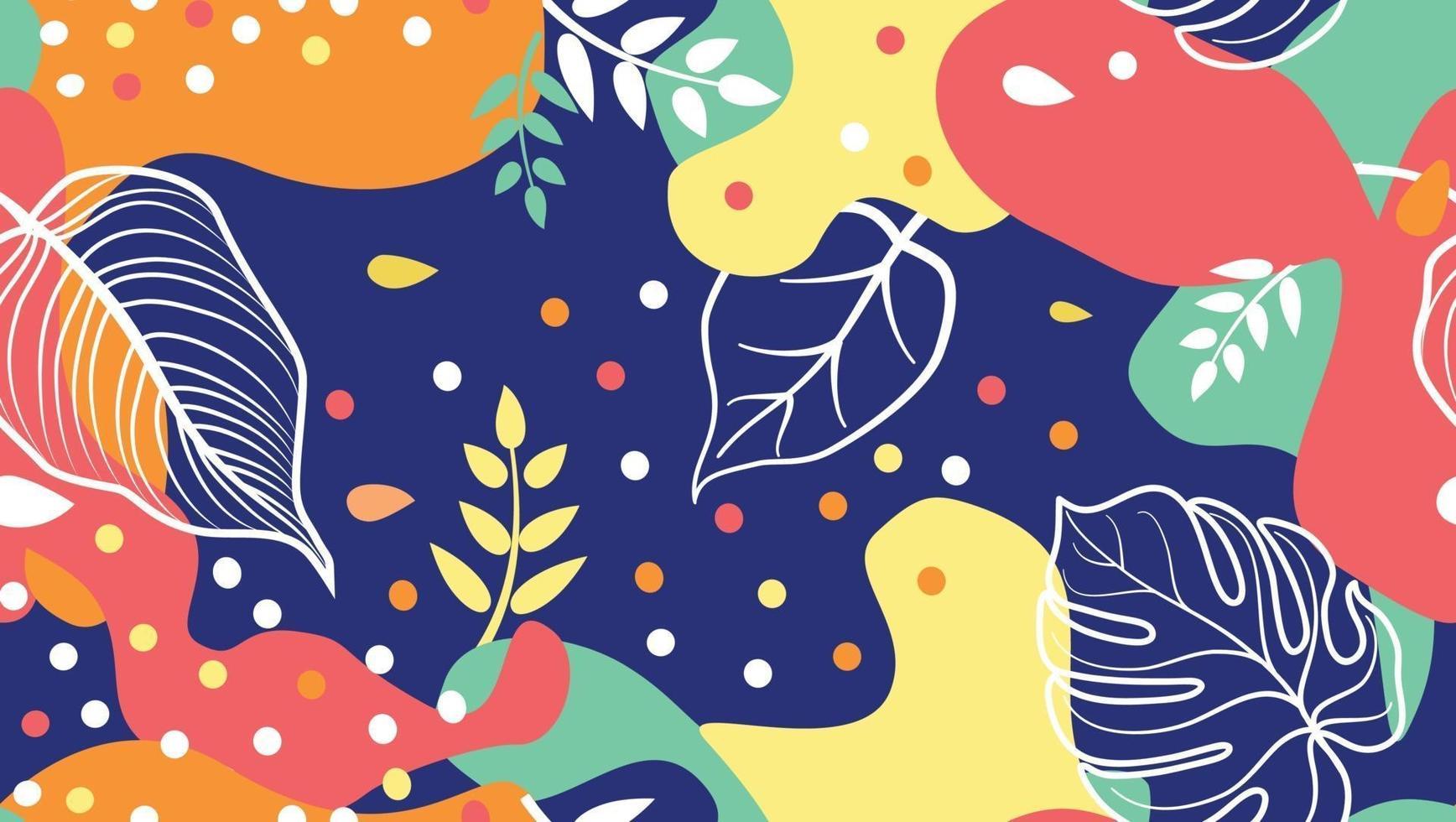 taches abstraites, formes florales et feuilles modèle sans couture dans un style design branché. vecteur